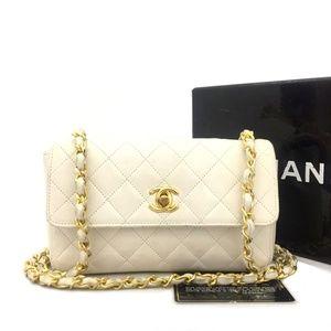 CHANEL Classic Leather Mini Gold Chain Flap Bag